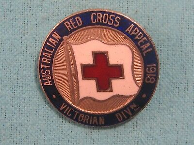 1918 WWI AUSTRALIAN Red Cross APPEAL VICTORIAN DIVISION ENAMEL BADGE