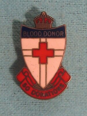 c1930s Red Cross BLOOD DONOR 50 Donations ENAMEL BADGE