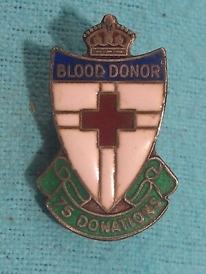c1930s Red Cross BLOOD DONOR 100 Donations ENAMEL BADGE