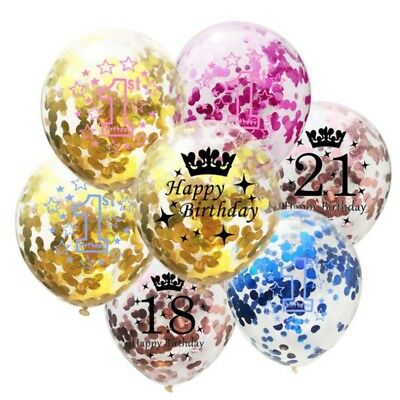 "Rose Gold Confetti Balloons Clear 12""  Helium 18st 1st Birthday Party Decor"