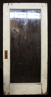 "35.5""x78"" Antique Vintage Door Exterior Entry Oak Wood Wooden Glass Window Pane"