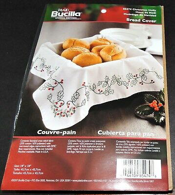 Bucilla Christmas Holly Bread Cover Doily Table Centre Red Green Crewel Kit New