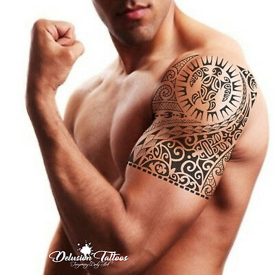 Temporary Tattoo Tribal Maori Polynesian Turtle Black Shoulder Arm Mens Womens