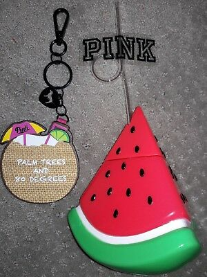 NEW Victoria's Secret PINK Watermelon Cup Coconut Keychain Mirror Palm Trees 80°