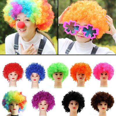 Clown Wig Kids Afro Multi Color 80s Curly Party Clown Funky Disco Kids Hair