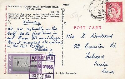 C 2643 Calf of Man  stamp cancelled, Port St Mary Aug 1963 cds  postcard to UK
