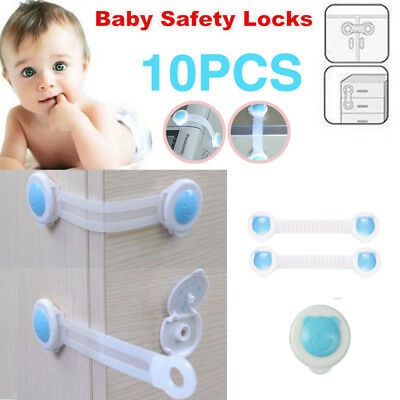 10x Door Drawer Cabinet Cupboard Wardrobe Baby Kids Safety Locks Latch Blue