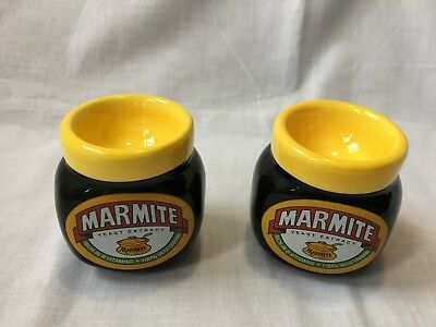 2 x COLLECTIBLE MARMITE JAR SHAPED CERAMIC BREAKFAST EGG CUPS - RARE  VGC