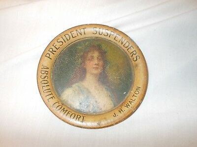 Early President Suspenders Tin Advertising Tray - Vintage