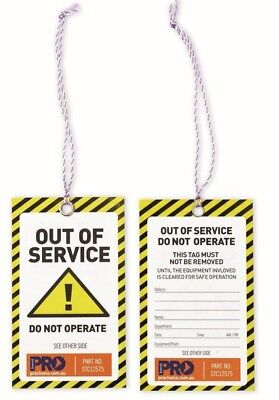 Prochoice CAUTION SAFETY TAG 125mmx75mm 100Pieces All Weather *Australian Brand