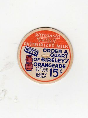 Wisconsin Valley Dairy Wi Rapids Wi  Pasteurized Milk Bottle Cap Wisconsin