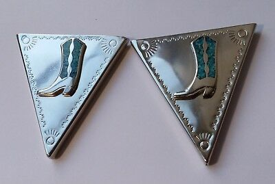 SILVER COLLAR TIPS Turquoise Chip Inlay COWBOY BOOTS Western Attire