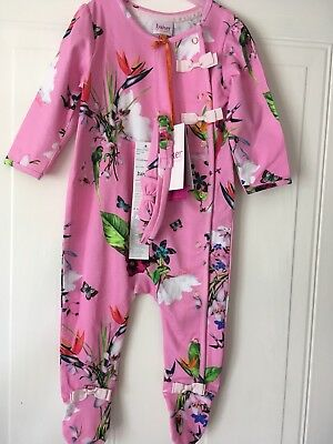 Ted Baker Baby Baker Girls Pink Oasis Sleepsuit Age 6-9 Months New