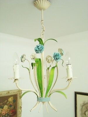 Tole Chandelier Toleware Blue Carnations Shabby Style French Country Dianthus