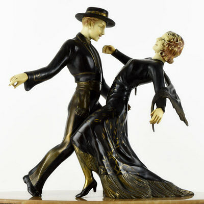 Rare 1930s French ART DECO SCULPTURE Tango Dancing Couple by DORSANE