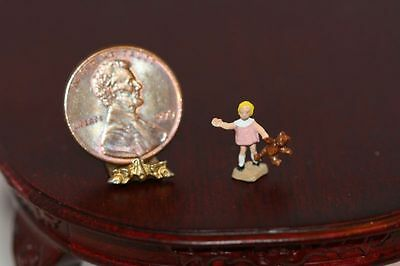 Dollhouse Miniature Girl Figurine in Pink w/Teddy Bear by Multi Minis