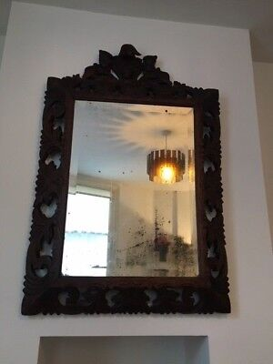 Stunning Vintage French Bevelled  Wall Mirror In A Hand Carved Wooden Frame