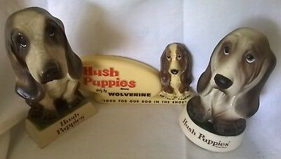 Vintage Hush Puppies Shoes advertising collectibles, 2 statues, one sign