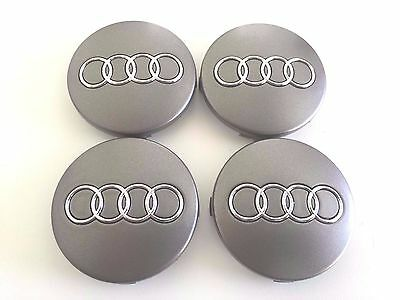Wheel Center Caps Hubcaps Badge Emblem Silver Logo For Audi 60MM 4B0601170 x4Pcs
