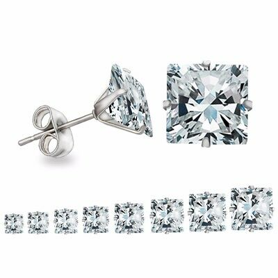 Pair of Women Men Cubic Zirconia Square Silver Stainless Steel Stud Earrings.