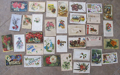 Lot of 34 Vintage Antique THANKSGIVING GOOD LUCK & GREETINGS Postcards