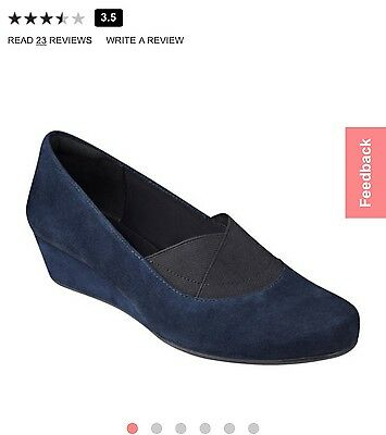 Brand new Easy Spirit Navy Suede Esdavani Wedges /shoes 9W Retail