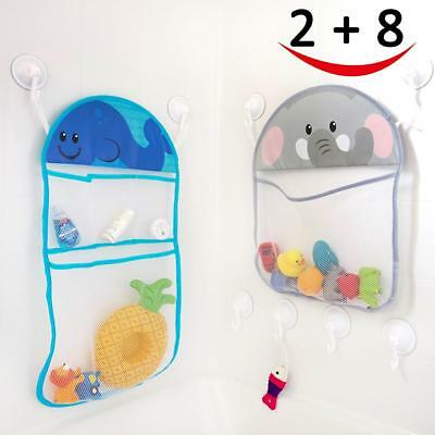 2 Bath Toy Organizer and 8 Ultra Strong Suction Hooks, Multi use...