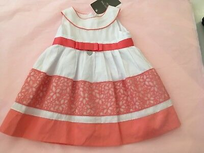 Mayoral girls dress brand new with tags baby 12 months white and coral