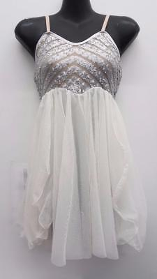 Dance Costume Small Adult Ivory & Silver Sequin Lyrical Ballet Competition