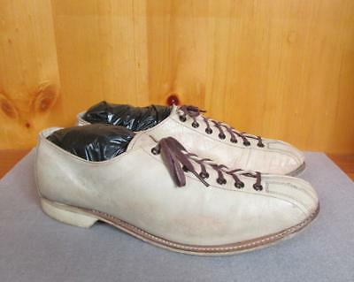 Vintage 1960s Bowling Double Toe Leather Shoes Size 8 Tan Bowlers Nice Shape