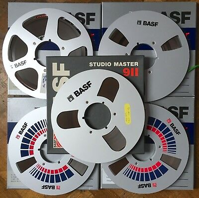 """Basf Reel To Reel 10-1/2"""" Nab Metal Spools 911 Master Boxes Contains Used 1/4"""""""