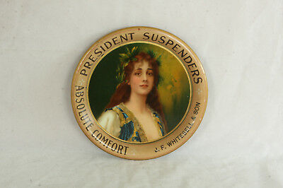 Beautiful Woman Portrait Advertising Tin Tip Tray President Suspenders Whitesell