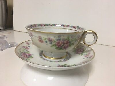 Antique Theodore Haviland Limoges Opera Tea Cup and Saucer Roses EUC