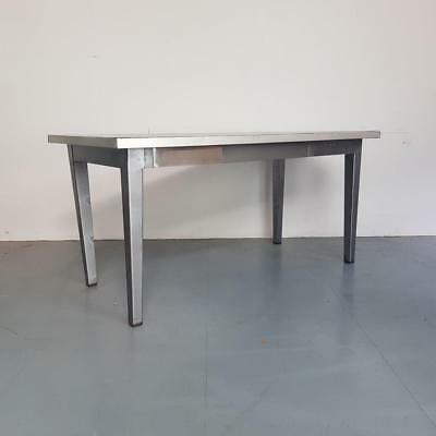 Vintage Industrial Stripped And Polished Metal Table Desk Work Bench #2386