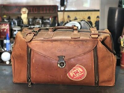 vintage cowhide leather doctor bag by ZippOGrip.