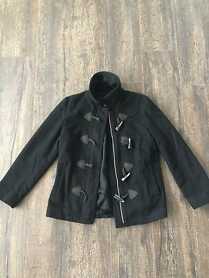 Gap Women's Peacoat Zip-Up Toggles Black Wool Blend Size Small