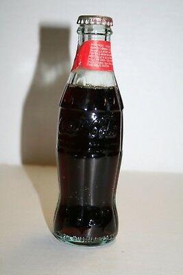 Vintage 6 0z Glass Embossed Coca-Cola Bottle With Contents Italy 1987