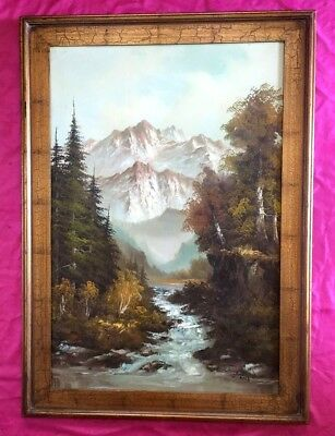 Vintage S.Hills Large Framed Oil on Canvas Painting Landscape Mountain Stream