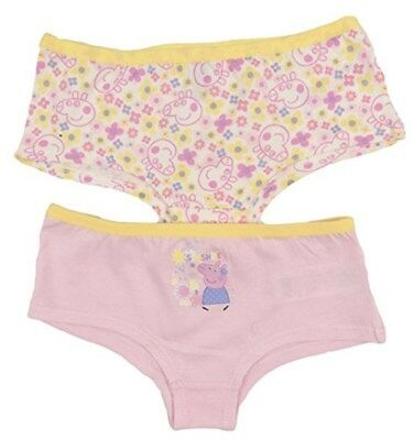 PEPPA PIG 2 PACK OF 2 SHORTIE STYLE BRIEFS/KNICKERS/UNDERWEAR - New