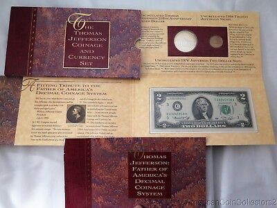 1993 Thomas Jefferson Coinage and Currency Commemorative Set W/ All OGP  0535