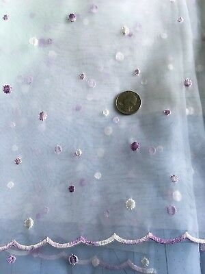 Little Embroidered Lavender Dots on Sheer White Fabric Scalloped Edge   26 X 18