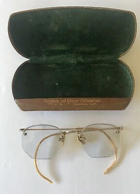 Antique Eyeglasses With Original Case 12 Kt Gold Filled Frames