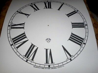"For American Clocks- Ansonia Paper Dial- 12"" M/T- Roman- White- Face/Clock Parts"