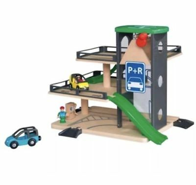 REAL WOOD Car Park Garage with Cars and Figures for 3 to 8 year Brio compatible