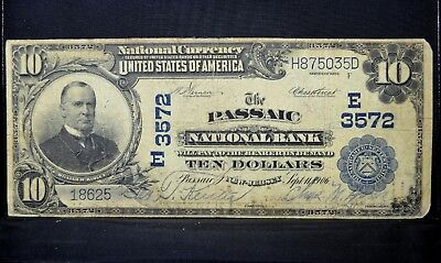 1902 Pb $10 National Bank Note ✪ The Passaic National Bank ✪ Nj 3572 ◢Trusted◣