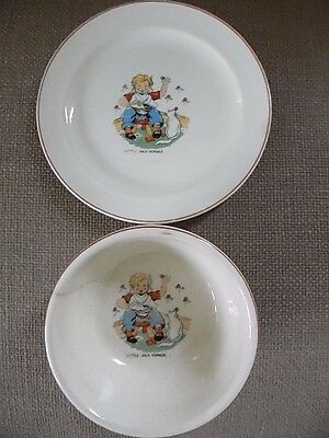 Antique Little Jack Horner Bowl & Plate, Mid 1940's
