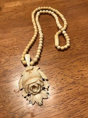 French Dieppe Bovine Carved Rose Locket Necklace Circa 1800's Excellent Condi