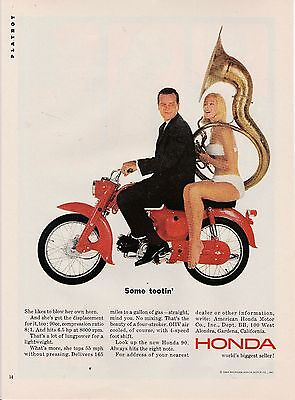 Vintage 1964 Honda 90 motor scooter print ad   Great to frame!