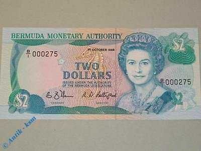 Banknote 2 Dollar $ Bermuda Monetary Authority , very low Serial Nr. , kfr / unc