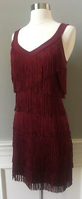 NWT $120 WHITE HOUSE BLACK MARKET Fringe Dress Dark Rouge Red M  - runs big